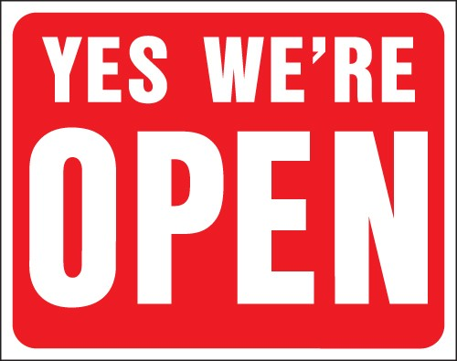 """Image logo for 19"""" x 15"""" Red/ White Plastic Sign: Yes, We're Open / Sorry We're Closed (2-Sided Sign)"""