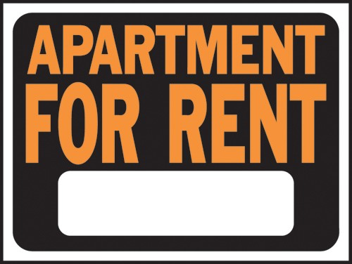 "Image logo for 12"" x 9"" Hy-Glo Plastic Sign:  FOR RENT (w/ Blank Info Box)"