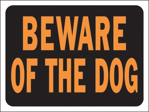 "Image logo for 12"" x 9"" Hy-Glo Plastic Sign:  BEWARE OF THE DOG"