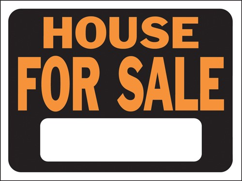 """Image logo for 12"""" x 9"""" Hy-Glo Plastic Sign:  HOUSE FOR SALE (w/ Blank Info Box)"""