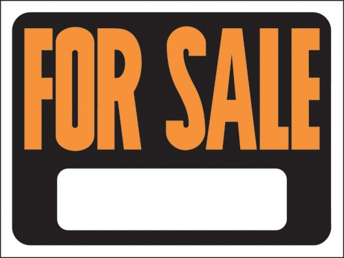 """Image logo for 12"""" x 9"""" Hy-Glo Plastic Sign:  FOR SALE (w/ Blank Info Box)"""