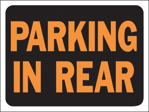 """Image logo for 12"""" x 9"""" Hy-Glo Plastic Sign:  PARKING IN REAR"""