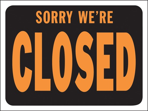 "Image logo for 12"" x 9"" Hy-Glo Plastic Sign:  SORRY, WE'RE CLOSED"