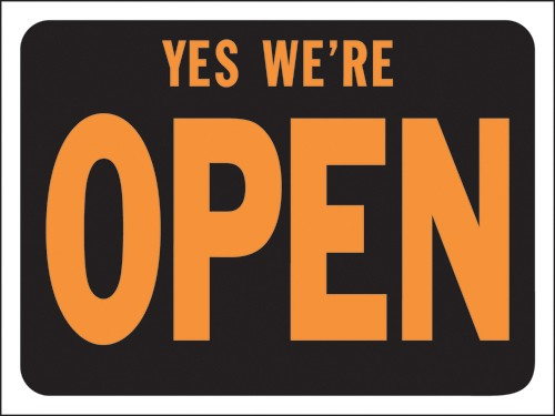 "Image logo for 12"" x 9"" Hy-Glo Plastic Sign:  YES, WE'RE OPEN"