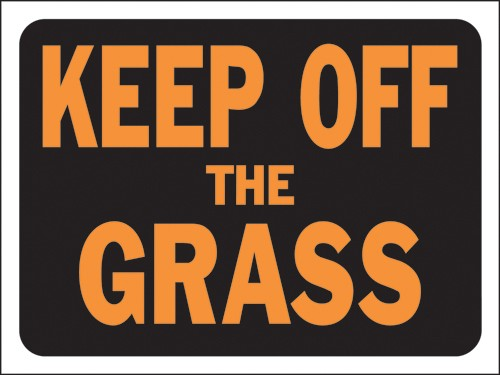 "Image logo for 12"" x 9"" Hy-Glo Plastic Sign:  KEEP OFF THE GRASS"