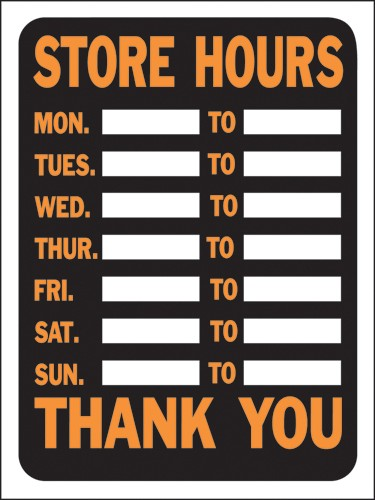 "Image logo for 12"" x 9"" Hy-Glo Plastic Sign:  STORE HOURS.......THANK YOU"
