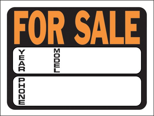 """Image logo for 12"""" x 9"""" Hy-Glo Plastic Sign:  FOR SALE (w/ Labelled Info Boxes)"""