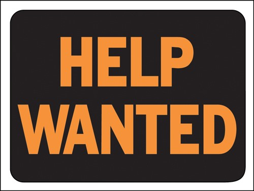 "Image logo for 12"" x 9"" Hy-Glo Plastic Sign:  HELP WANTED"