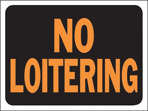 "Image logo for 12"" x 9"" Hy-Glo Plastic Sign:  NO LOITERING"