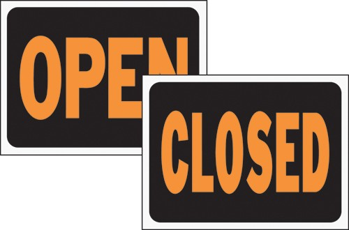 """Image logo for 12"""" x 9"""" Hy-Glo Plastic Sign:  OPEN / CLOSED (2-SIDED SIGN)"""
