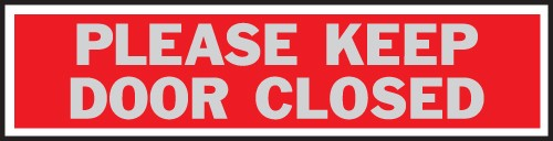 "Image logo for 8"" x 2"" Aluminum Princess Sign:  PLEASE KEEP DOOR CLOSED"
