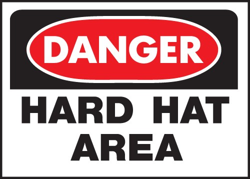 "Image logo for 14"" x 10"" Heavy-Duty Polyethylene OSHA Sign: DANGER - HARD HAT AREA"