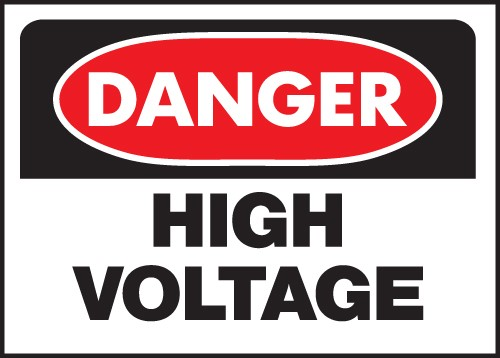 "Image logo for 14"" x 10"" Heavy-Duty Polyethylene OSHA Sign: DANGER - HIGH VOLTAGE"