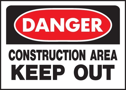 "Image logo for 14"" x 10"" Heavy-Duty Polyethylene OSHA Sign:  DANGER - CONSTRUCTION AREA - KEEP OUT"
