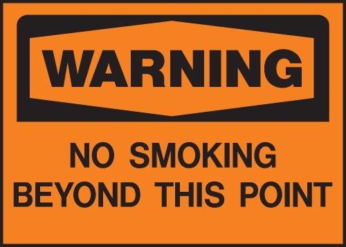 "Image logo for 14"" x 10"" Heavy-Duty Polyethylene OSHA Sign:  WARNING - NO SMOKING BEYOND THIS POINT"