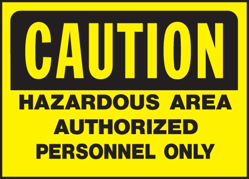 "Image logo for 14"" x 10"" Heavy-Duty Polyethylene OSHA Sign: CAUTION - HAZARDOUS AREA...."