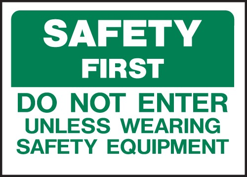 "Image logo for 14"" x 10"" - Heavy-Duty Polyethylene OSHA Sign: SAFETY FIRST - DO NOT ENTER..."