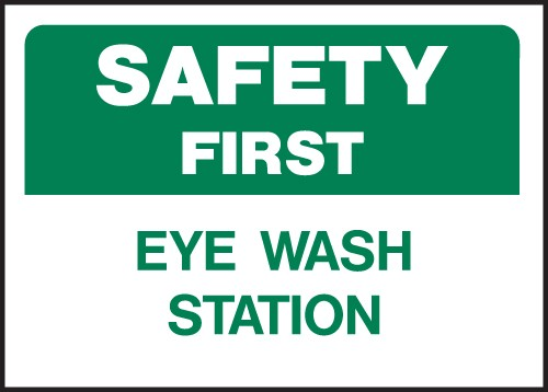 "Image logo for 14"" x 10"" Heavy-Duty Polyethylene OSHA Sign: SAFETY FIRST - EYE WASH STATION"