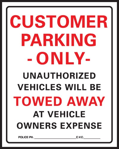 "Image logo for Customer Parking Sign | 15"" x 19"" Heavy-Duty Plastic Sign:  CUSTOMER PARKING ONLY - UNAUTHORIZED VEHICLES...."