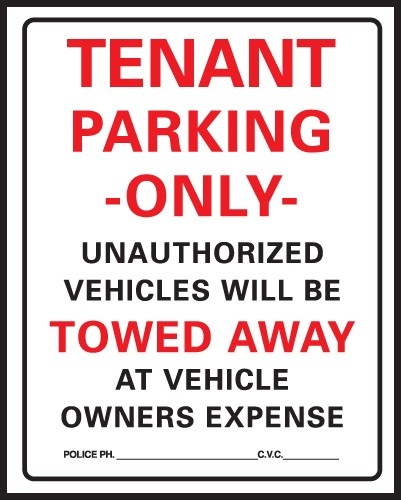 "Image logo for Tenant Parking Sign |15"" x 19"" Heavy-Duty Plastic Sign: TENANT PARKING ONLY - UNAUTHORIZED VEHICLES..."