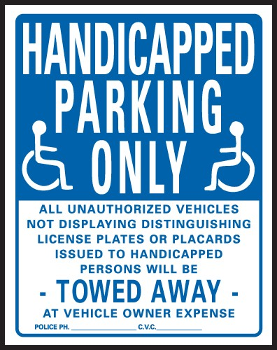 "Handicap Parking Signs | 15"" x 19"" - Heavy-Duty Plastic Sign:  HANDICAPPED PARKING ONLY"