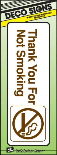 "Image logo for 9"" x 3"" DECO Sign:  THANK YOU FOR NOT SMOKING"