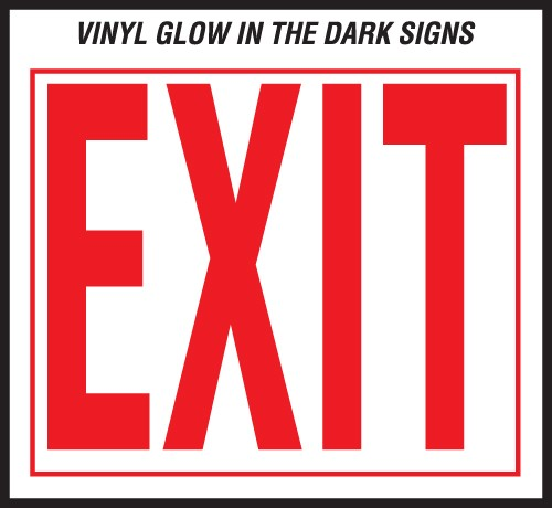 "Image logo for 12"" x 10"" Self-Adhesive Vinyl Safety Sign:  EXIT"