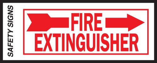 "Image logo for 10"" x 4"" Self-Adhesive Vinyl Safety Sign:  FIRE EXTINGUISHER (Left or Right)"