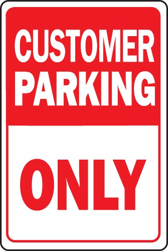 "Image logo for Customer Parking Sign | 12"" x 18"" x 0.040 Aluminum Sign:  CUSTOMER PARKING ONLY"