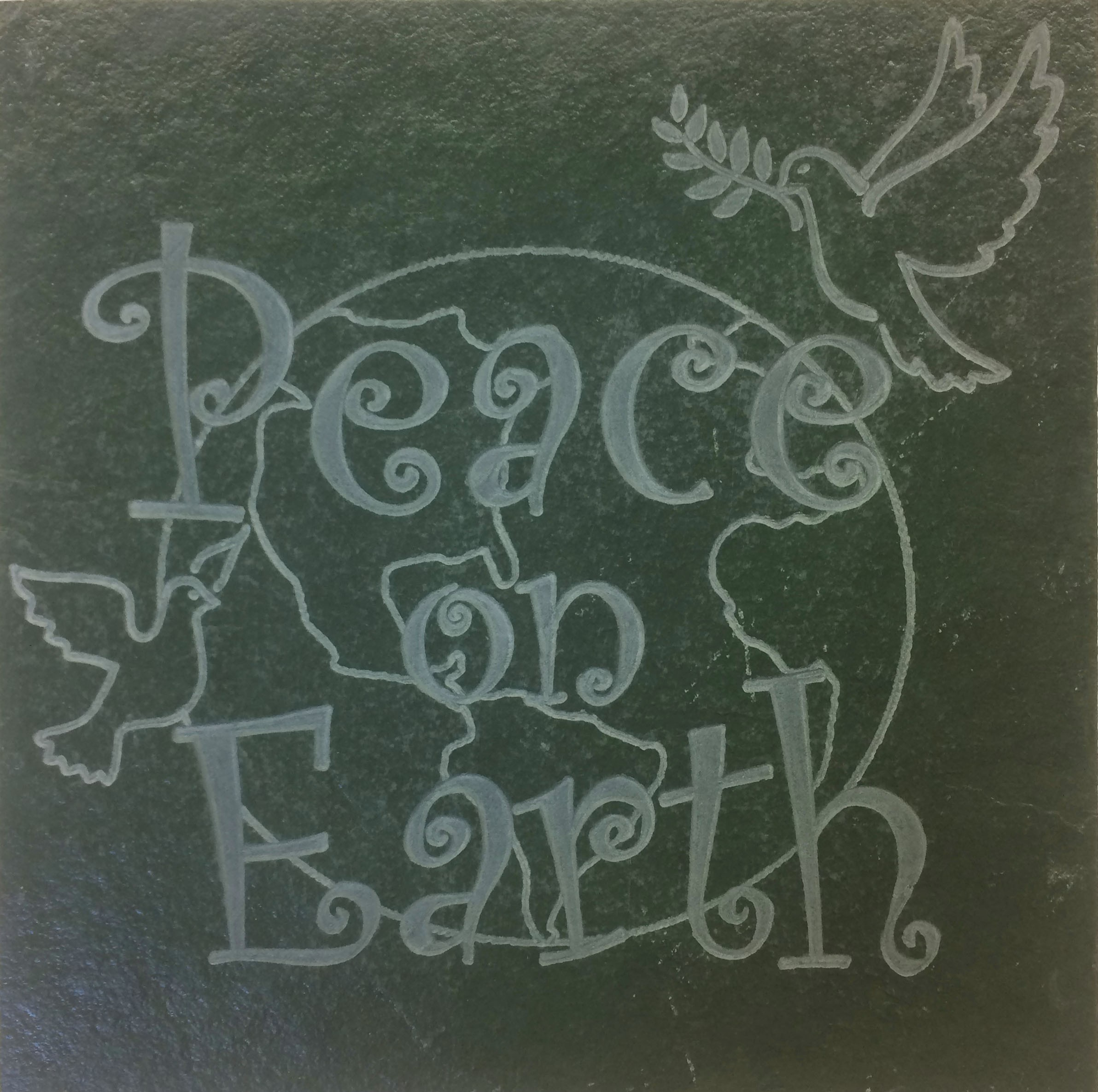 "Image logo for 12"" X 12"" Engraved Green Slate Tile - PEACE ON EARTH"
