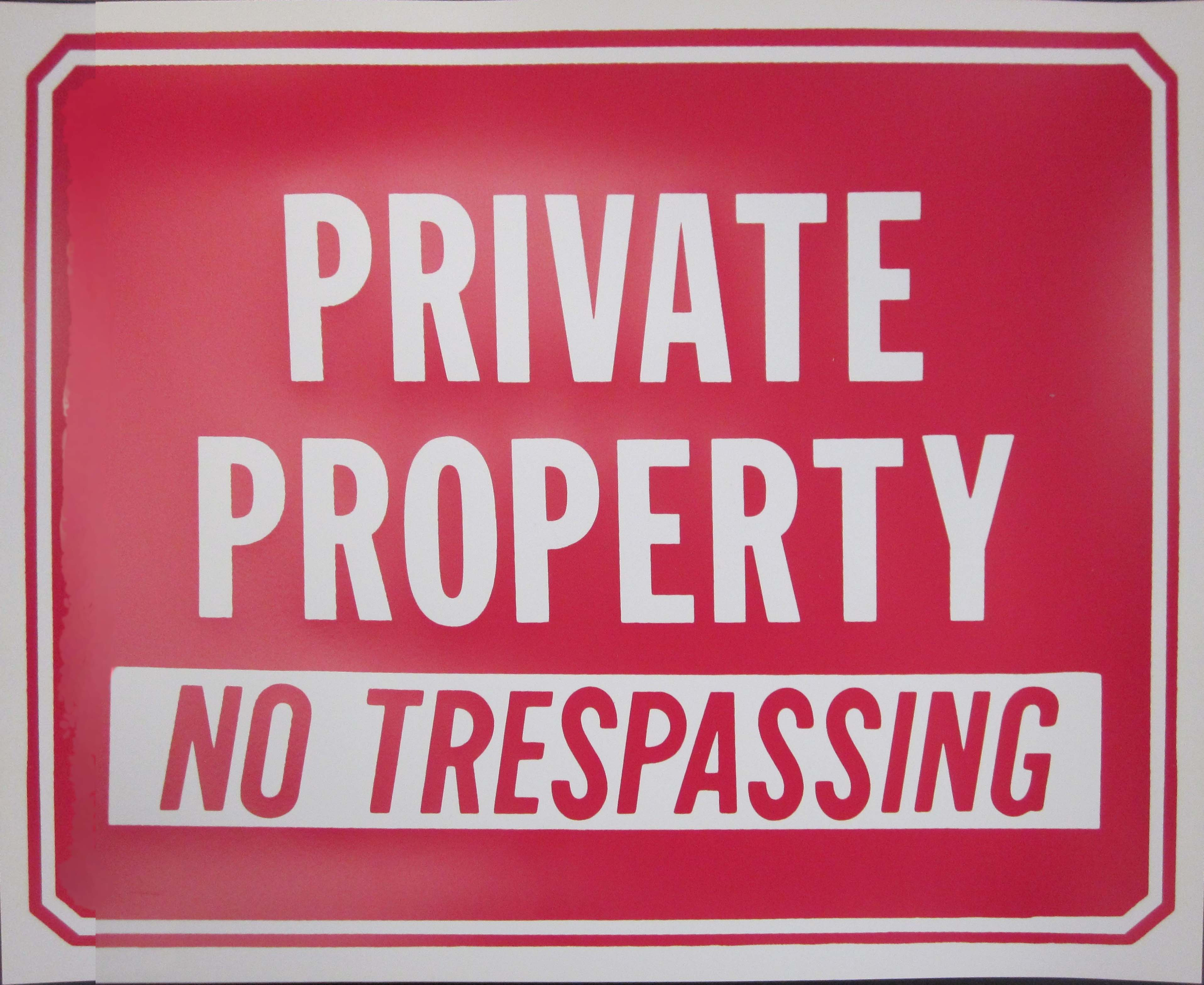 "Image logo for 12"" x 9"" Plastic Sign:  PRIVATE PROPERTY - NO TRESPASSING"