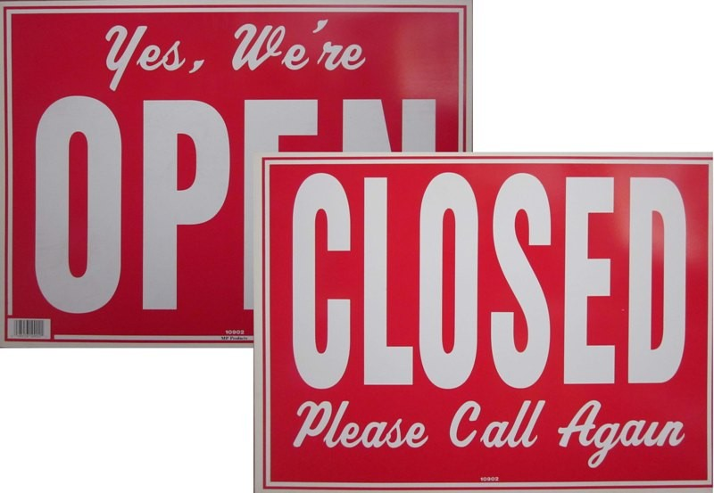 "Image logo for 19"" x 15"" Red/ White Plastic Sign: Yes, We're Open /Closed, Please Call Again (2-Sided)"