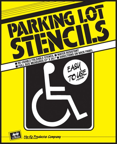 "Image logo for 32.5"" x 25"" PARKING LOT H.C. STENCIL"
