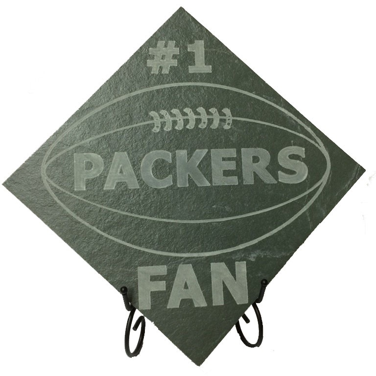 "Image logo for 12"" X 12"" Engraved Green Slate Tile - #1 PACKER FAN"