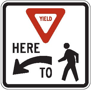"Image logo for Yield Signs | R1-5b - 36"" x 36"" x 0.080 Aluminum Sign: YIELD HERE TO PEDESTRIANS"