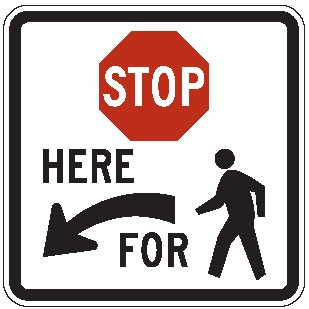 "Image logo for R1-5 - 36"" x 36"" x 0.080 Aluminum Sign: STOP HERE FOR PEDESTRIAN"