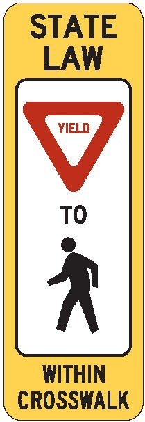 "Image logo for Yield Signs | R1-6 - 12"" x 36"" x 0.080 Aluminum Sign: STATE LAW - YIELD HERE TO PEDESTRIAN WITHIN CROSSWALK"