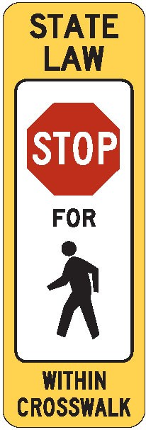 "Image logo for R1-6a - 12"" x 36"" x 0.080 Aluminum Sign: STOP HERE FOR PEDESTRIAN"