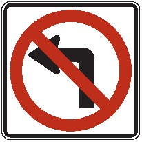 "Image logo for R3-2 - 24"" x 24"" x 0.080 Aluminum Sign: NO LEFT TURN (Symbol)"