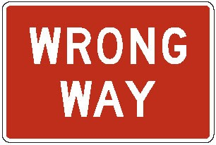 "Image logo for R5-1a - 30"" x 18"" x 0.080 Aluminum Sign: WRONG WAY"