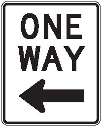 "Image logo for R6-2 - 24"" x 30"" x 0.080 Aluminum Sign: ONE WAY (Left or Right)"