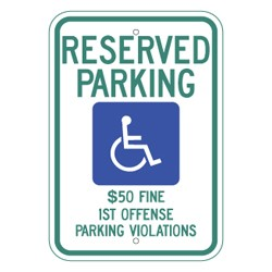 "Image logo for Handicap Parking Signs - ALABAMA (Clone) - 12"" x 18"" x 0.080 Aluminum Sign: HANDICAPPED PARKING"