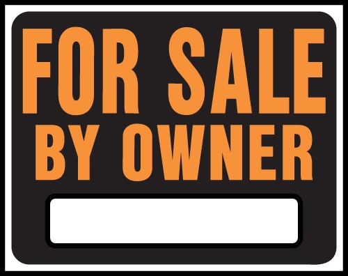 """Image logo for 19"""" x 15"""" Hy-Glo Plastic Sign:  FOR SALE BY OWNER (w/ Blank Info Box)"""