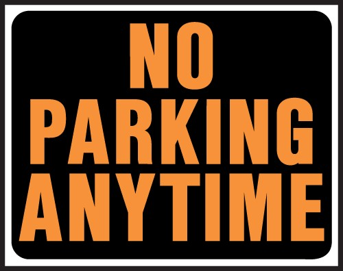 """Image logo for 19"""" x 15"""" Hy-Glo Plastic Sign:  NO PARKING ANY TIME"""