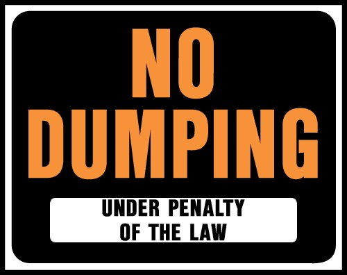"Image logo for 19"" x 15"" Hy-Glo Plastic Sign:  NO DUMPING....."