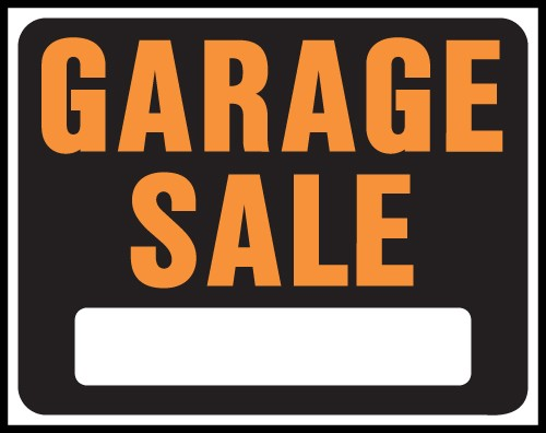 "Image logo for 19"" x 15"" Hy-Glo Plastic Sign:  GARAGE SALE (w/ Blank Info Box)"