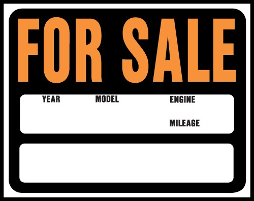 """Image logo for 19"""" x 15"""" Hy-Glo Plastic Sign:  FOR SALE (w/ Labelled Info Boxes)"""