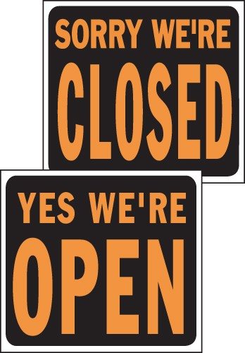 "Image logo for 19"" x 15"" Hy-Glo Plastic Sign:  SORRY, WE'RE CLOSED / YES, WE'RE OPEN (2-Sided Sign)"