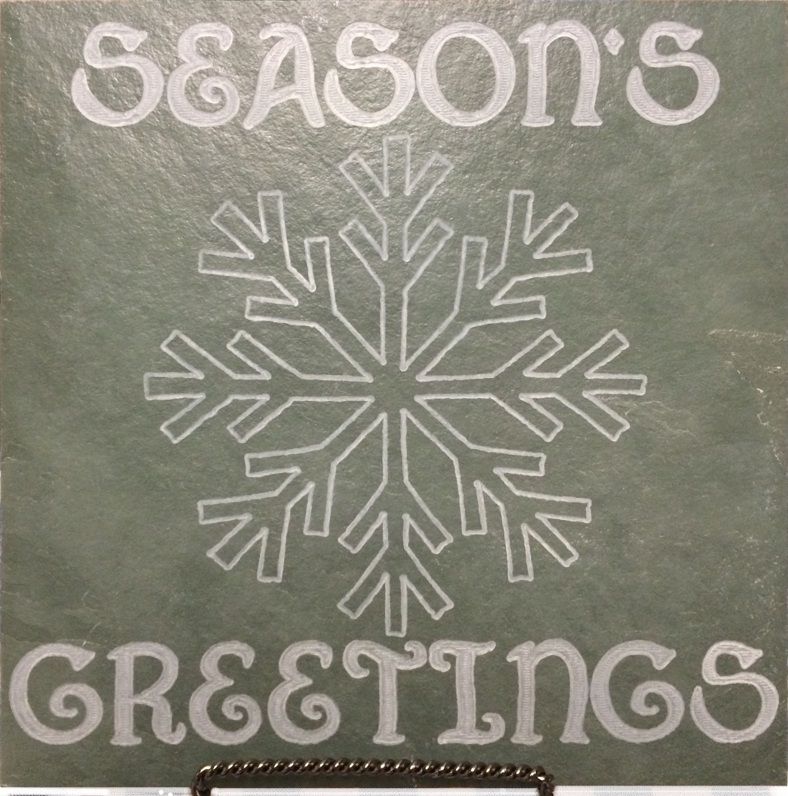 "Image logo for 12"" X 12"" Engraved Green Slate Tile - SEASON'S GREETINGS"