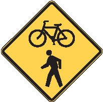 "Image logo for W11-15 - 24"" x 24"" x 0.080 Aluminum Sign: BICYCLE / PEDESTRIAN CROSSING (Symbol)"